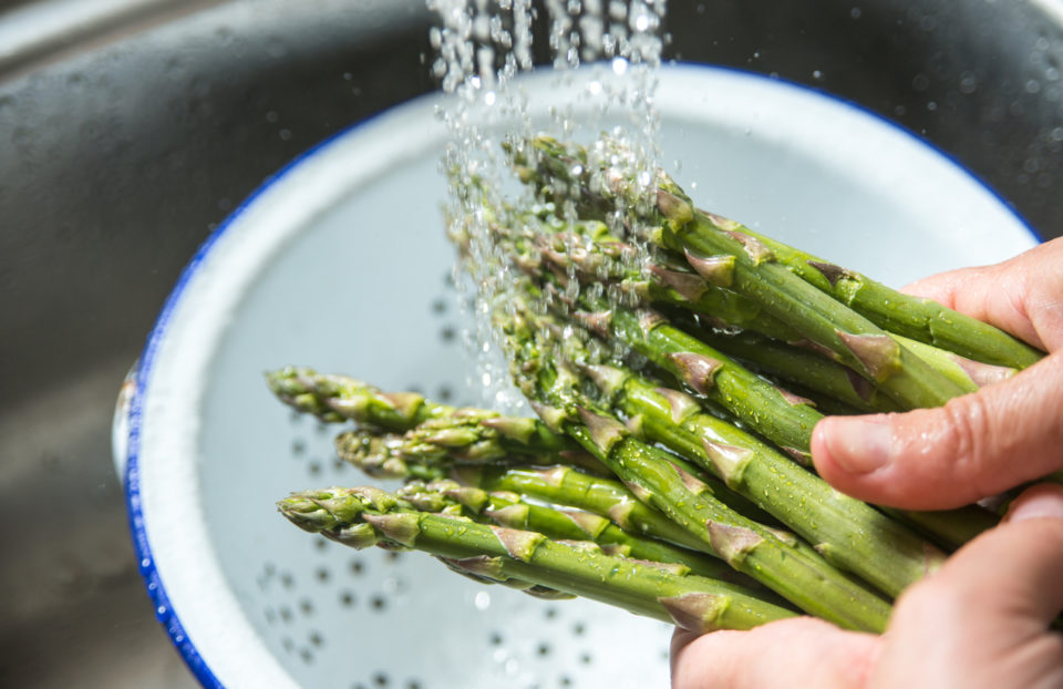 Asparagus being washed