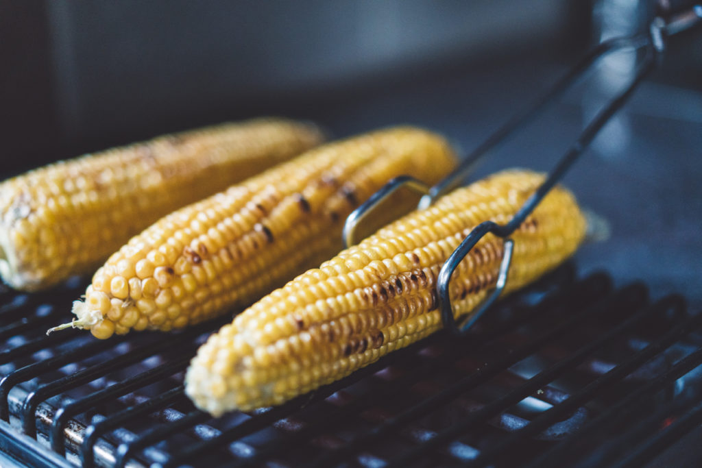 Grilled sweet corn ready to be eaten