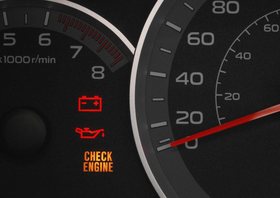 Check engine warning light.