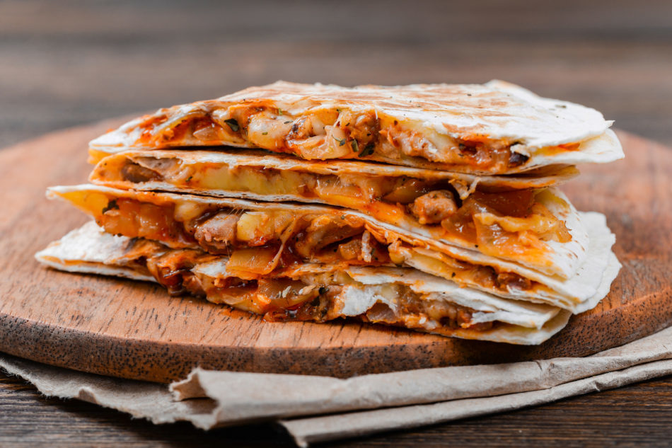 Quesadilla on a wooden table